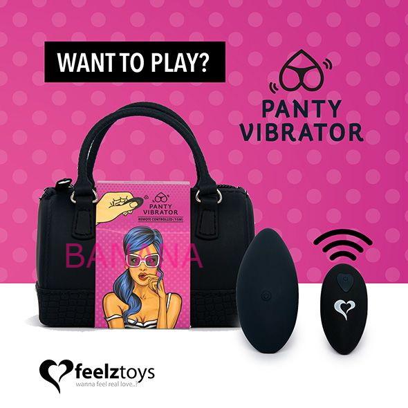 Вибратор в трусики FeelzToys Panty Vibrator Black с пультом ДУ