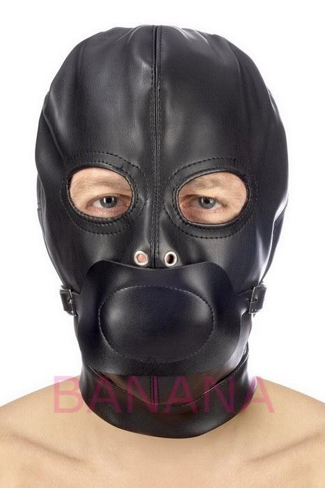 Капюшон с кляпом для БДСМ Fetish Tentation BDSM hood in leatherette with removable gag
