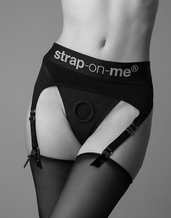 Трусы для страпона с подвязками для чулок Strap-On-Me Rebel Harness S